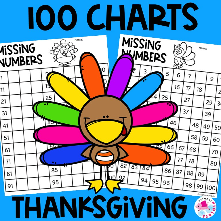 100 Charts Worksheets Thanksgiving