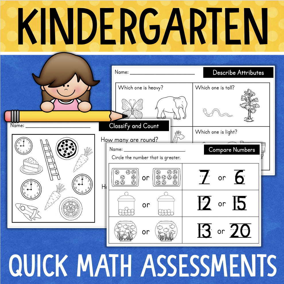 Kindergarten Math Worksheets Assessments