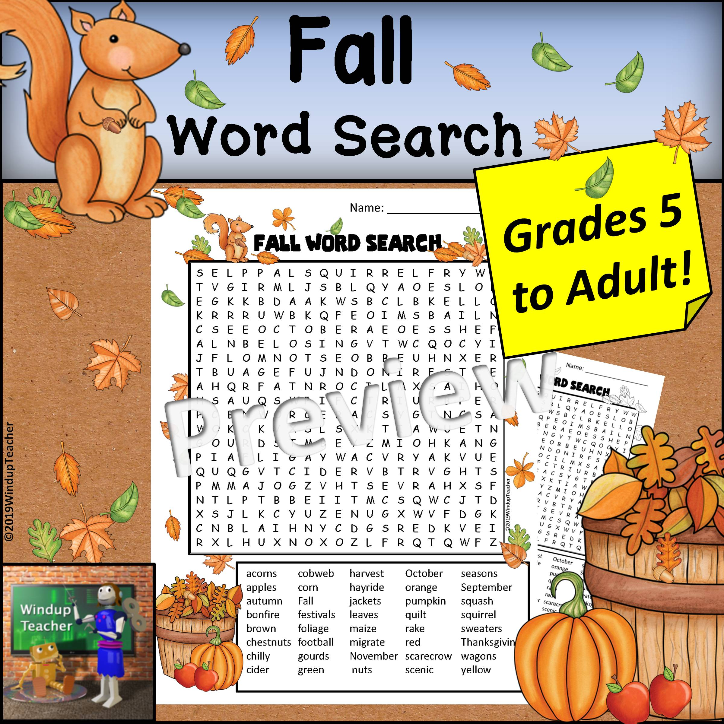 Fall Word Search - Hard for Grades 5 to Adult