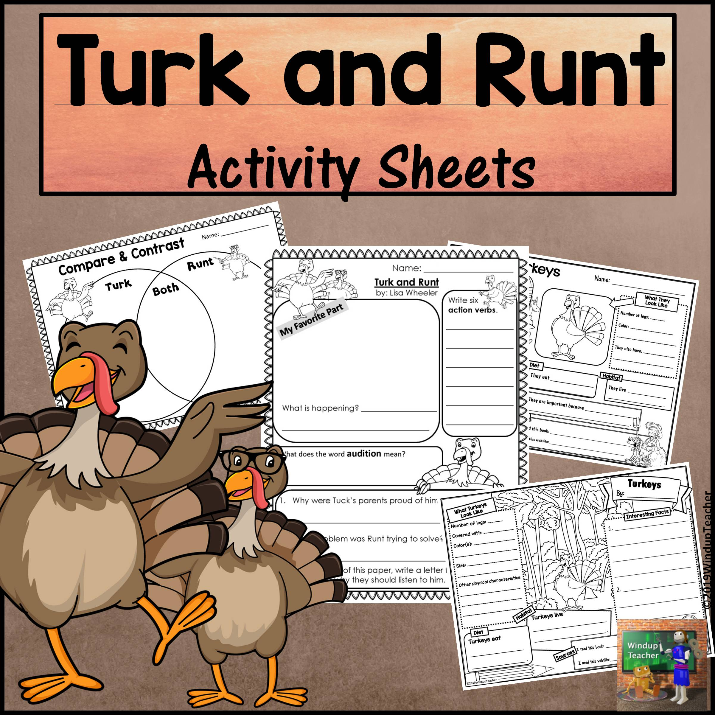Turk and Runt Activity Sheets Print and GO!