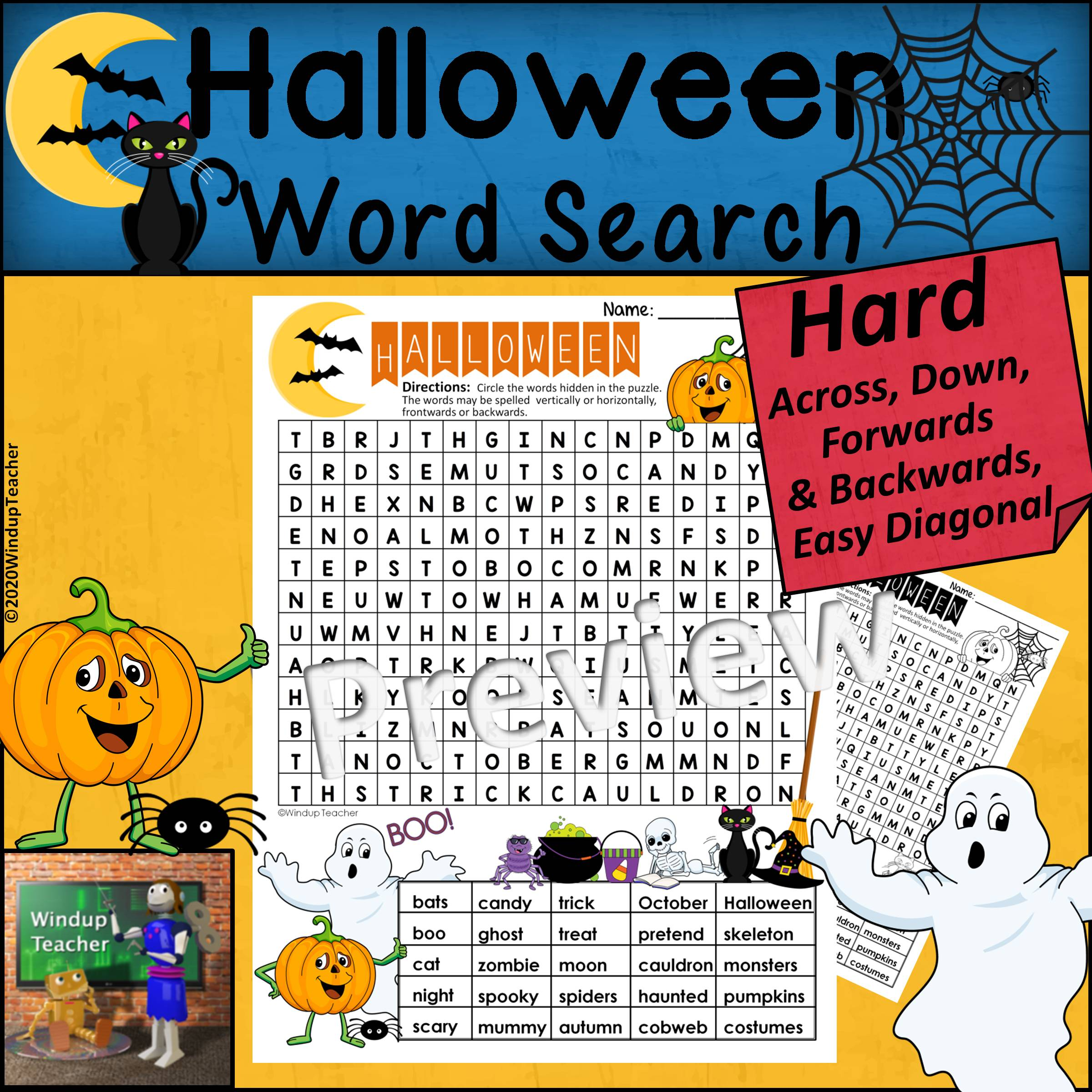 Halloween Word Search   HARD Puzzle   Ready to Go!