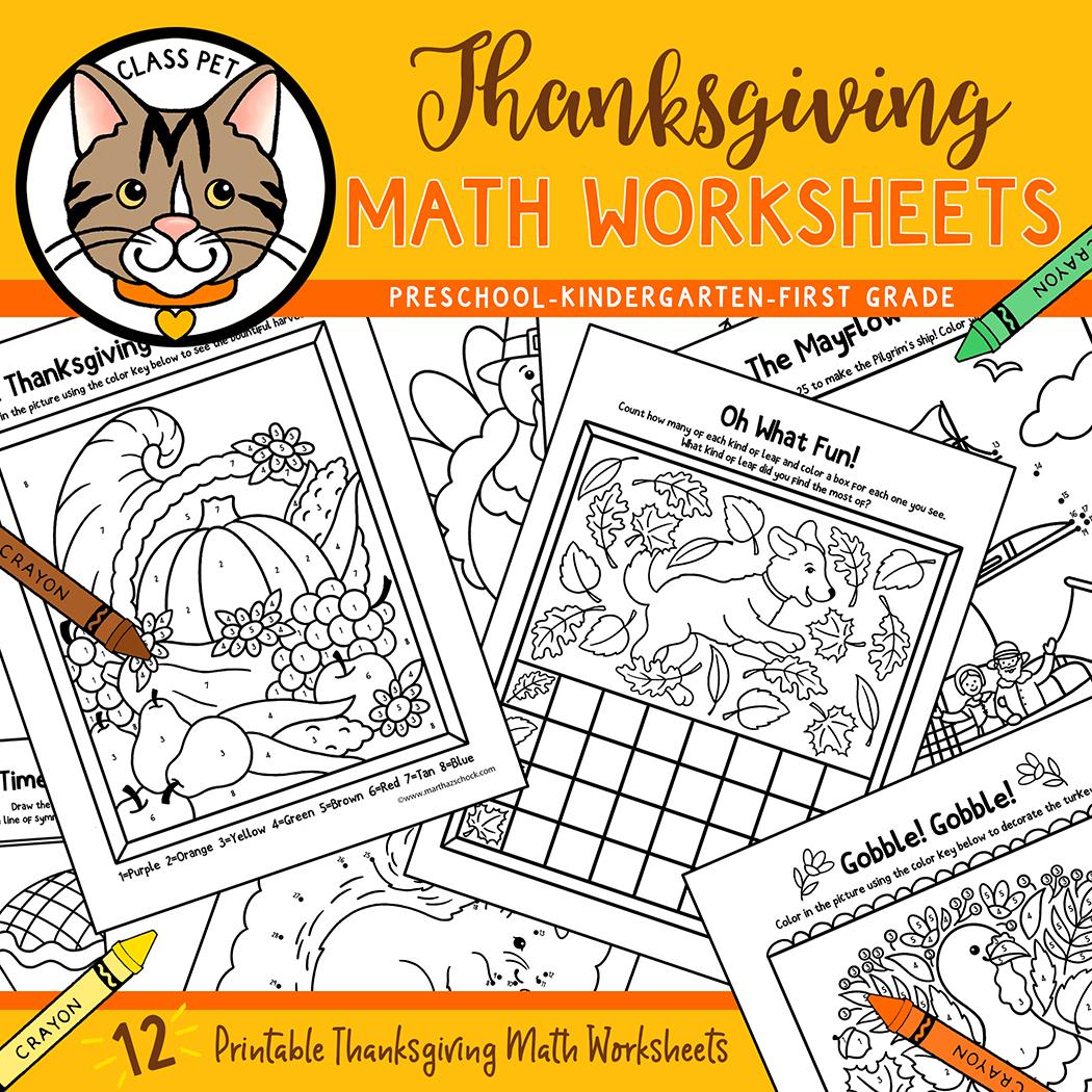 Thanksgiving Math Worksheets for Preschool | Kindergarten | First Grade