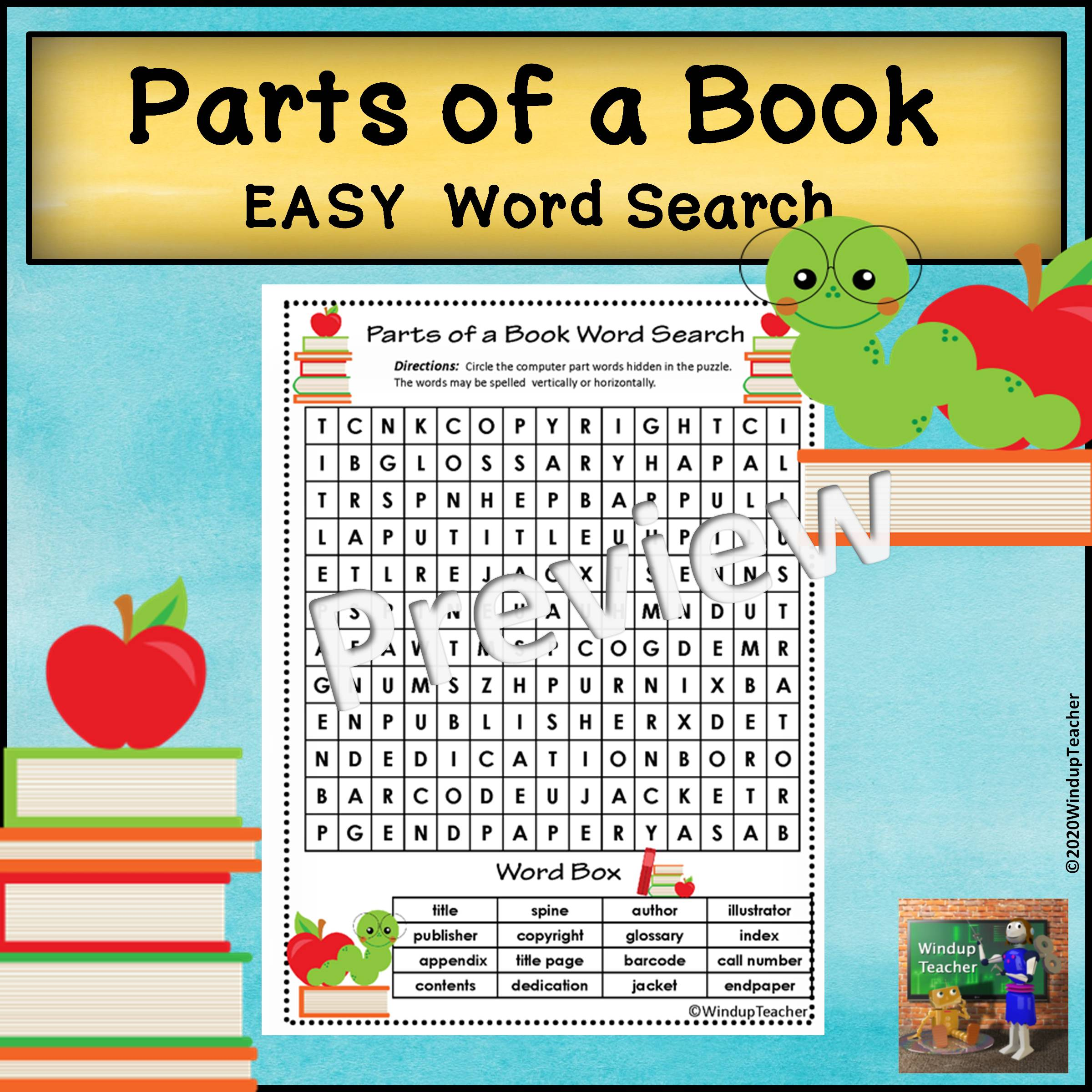 Parts of a Book Word Search | EASY Puzzle