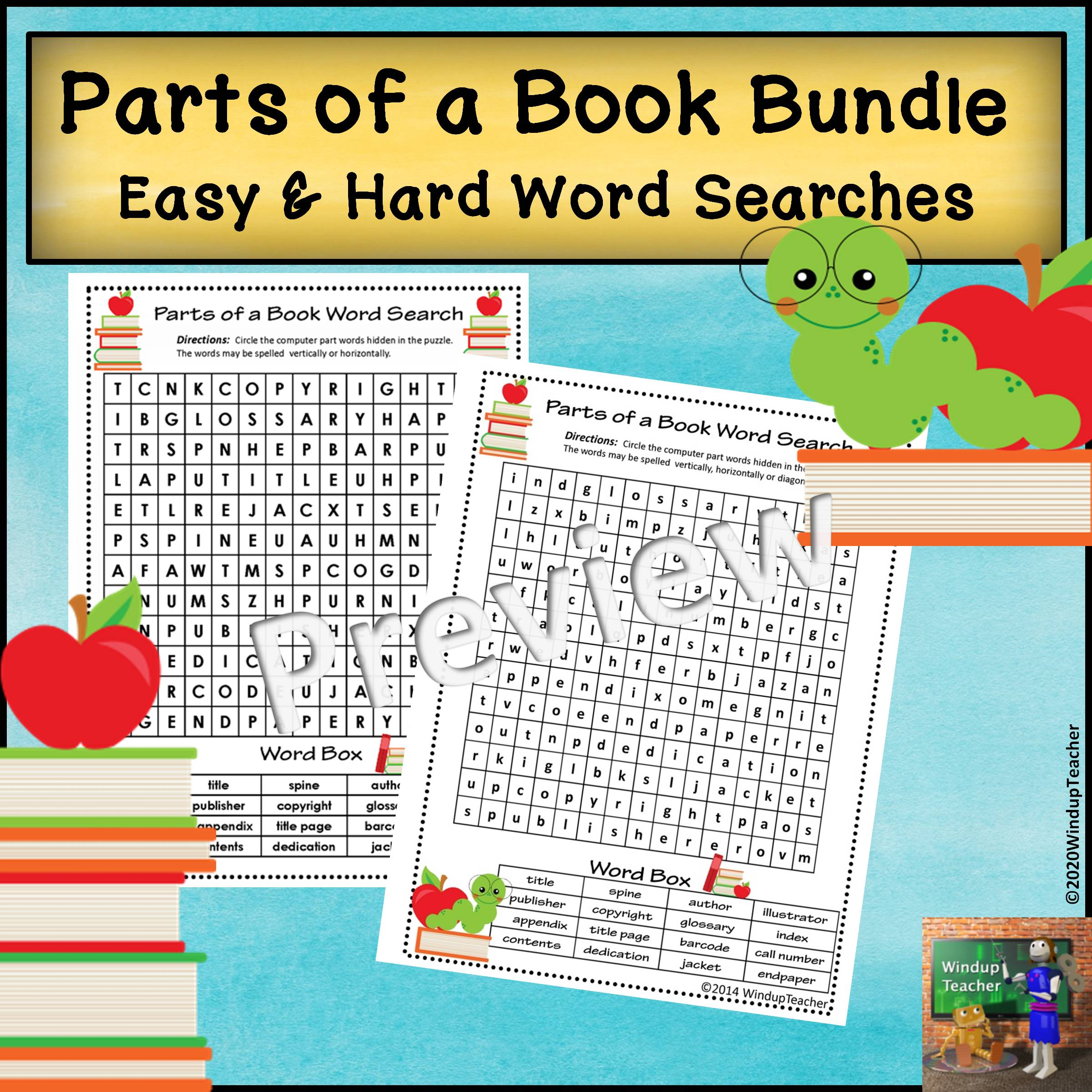 Parts of a Book Word Search BUNDLE   Easy & Hard