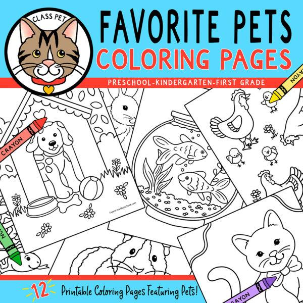 Favorite Pets Coloring Pages Preschool | Kindergarten | First Grade