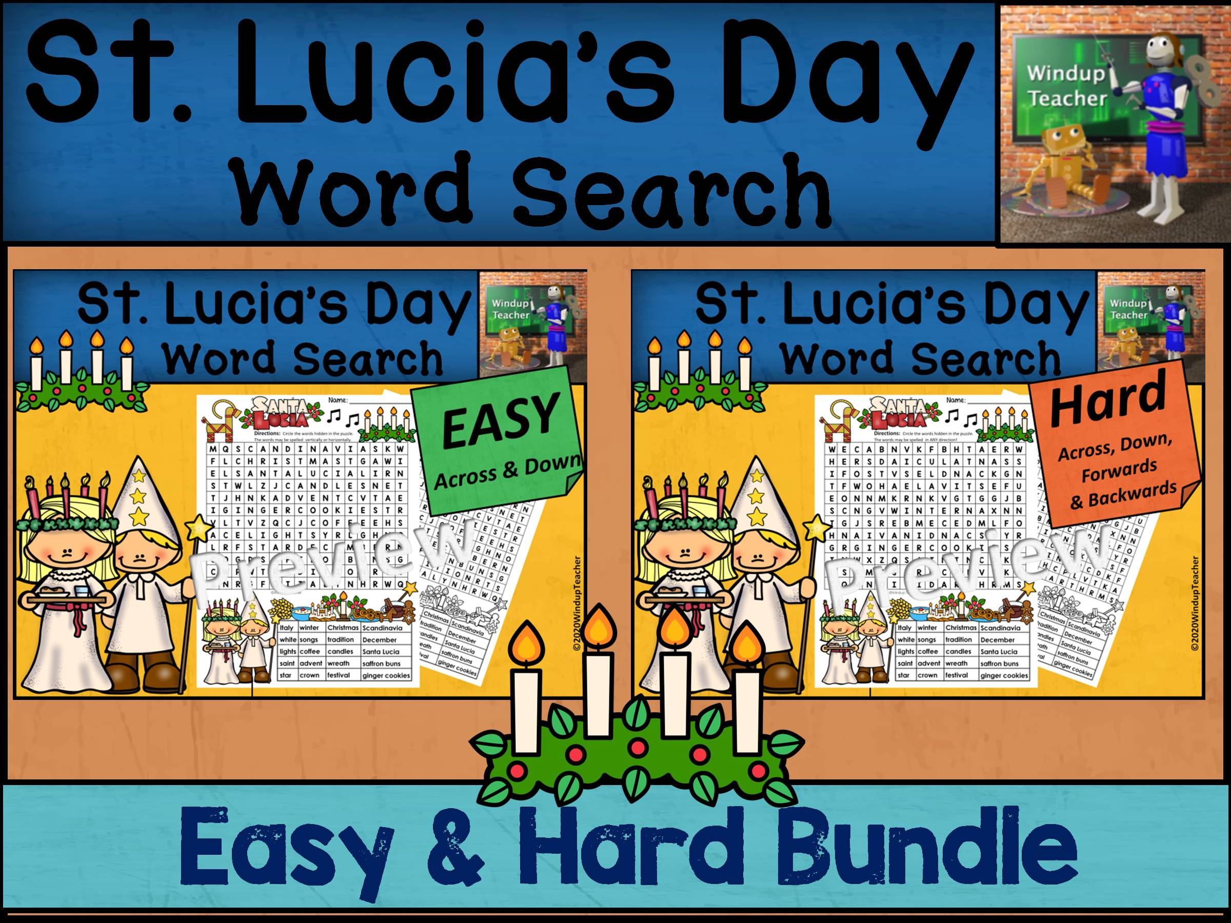 St. Lucia's Day Word Search BUNDLE - Easy and Hard Bundle
