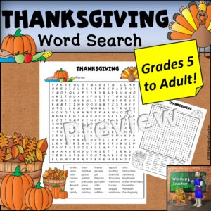Thanksgiving Word Search - Hard for Grades 5&UP