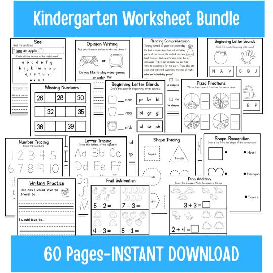 Kindergarten-Grade One Worksheet Learning Bundle ONE