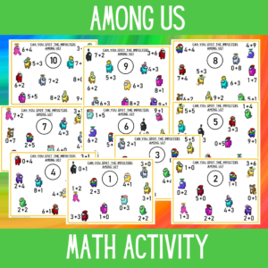 Among us math worksheets