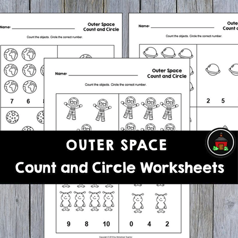 4 Printable Outer Space Count And Circle Numbers 0-10 Worksheets - Made By  Teachers