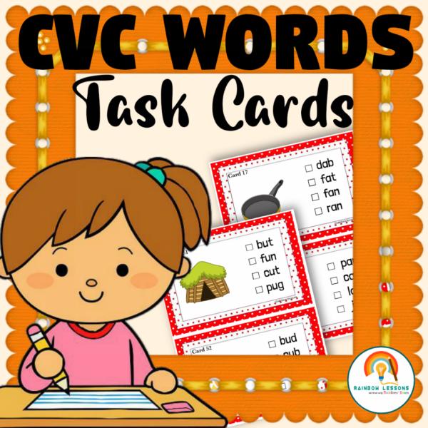 CVC Words Task Cards Kindergarten