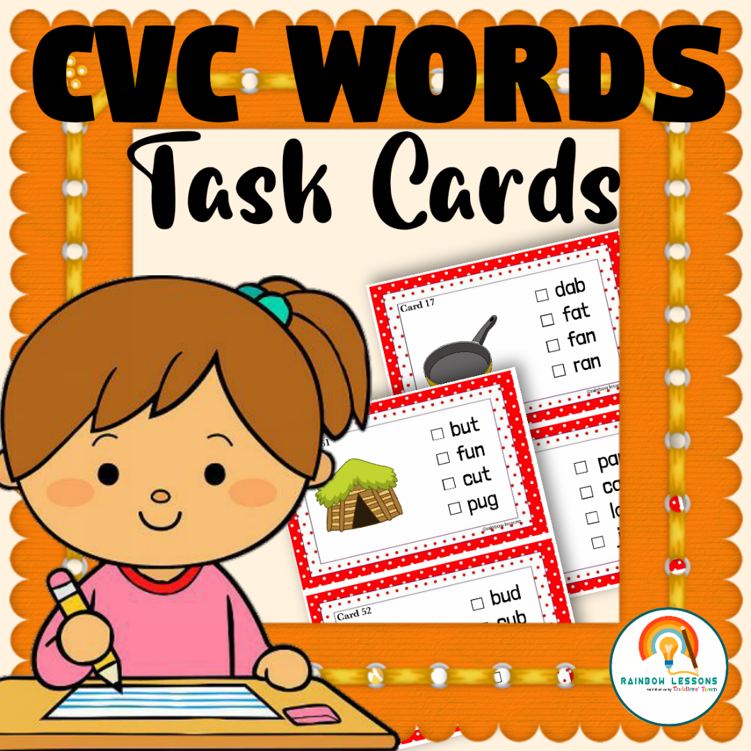 CVC Words Task Cards Kindergarten