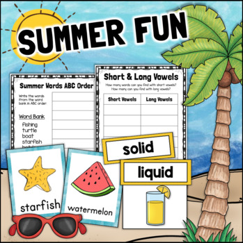 Summer First Grade Literacy and Science Worksheets Printable
