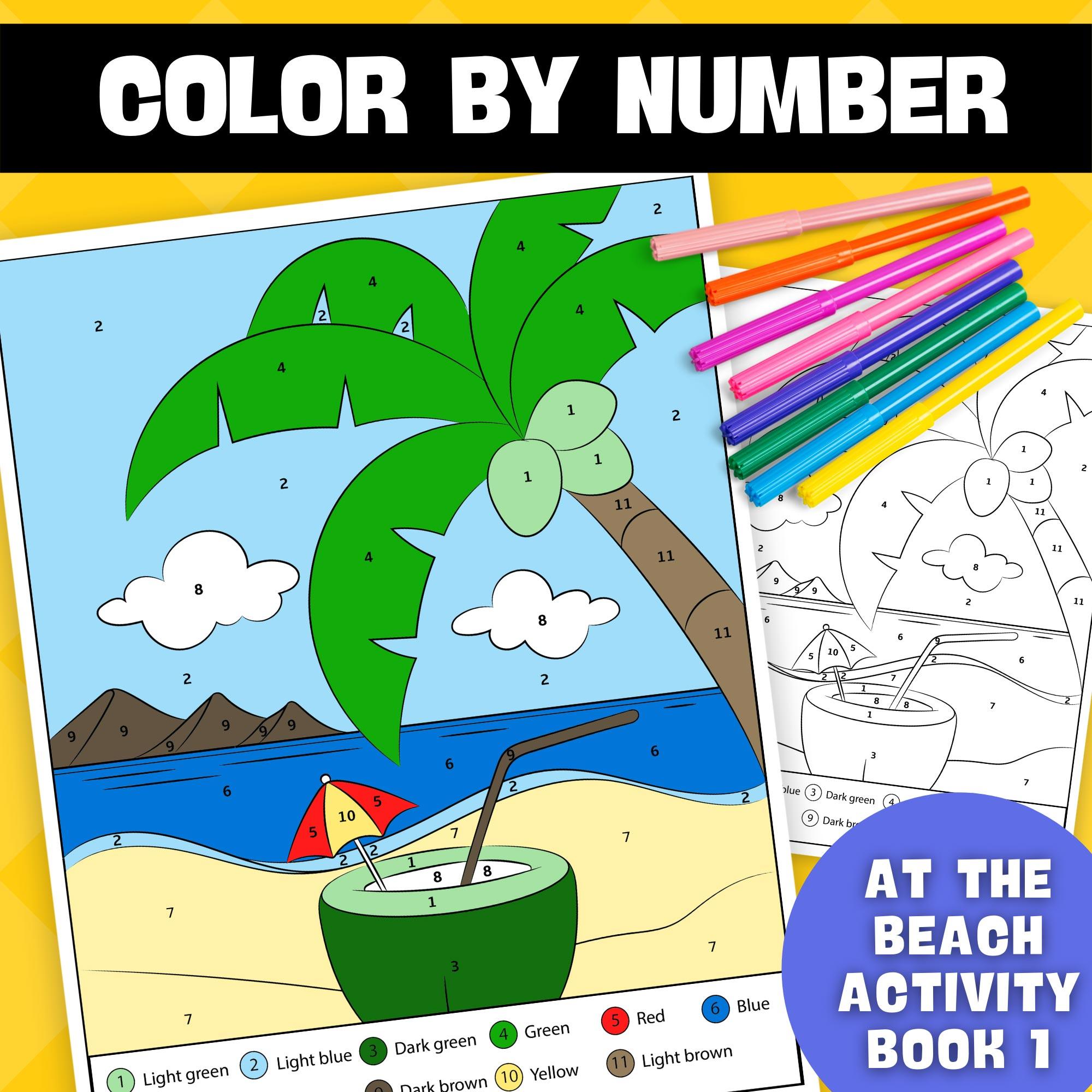 Summer Color By Numbers Printable Worksheets