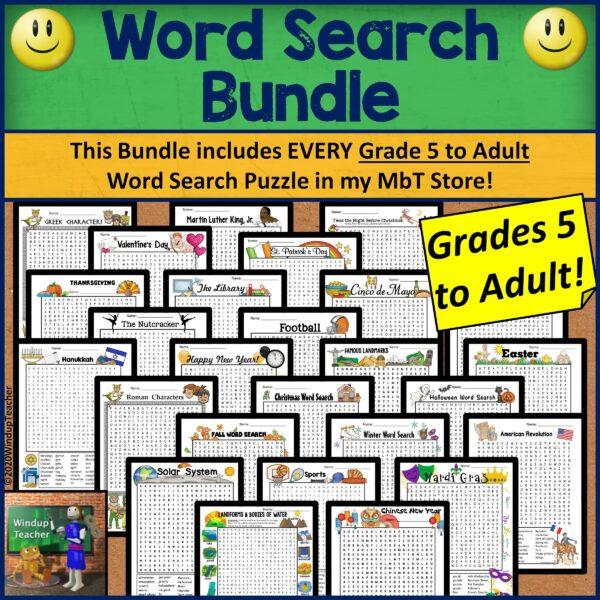 Word Search Worksheet Bundle