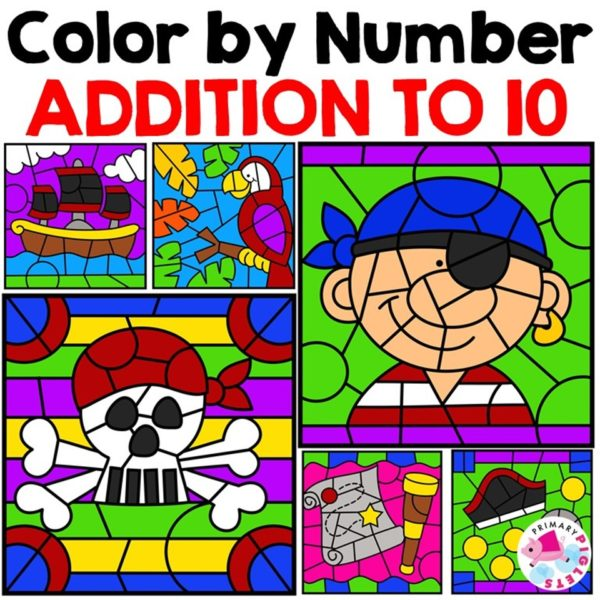 Color By Number Addition Worksheets