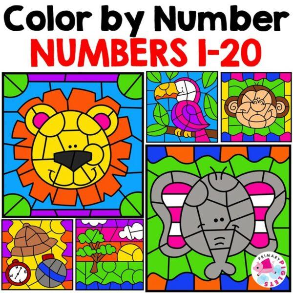 Summer Kindergarten Numbers Worksheets - Color By Numbers