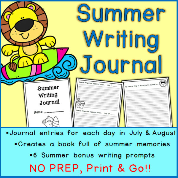 Printable Summer Writing Journal Elementary Age