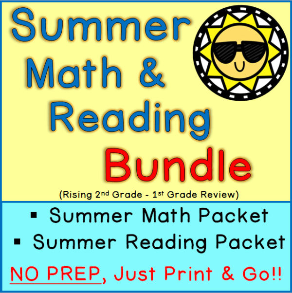 Printable Summer Math and Reading Worksheets 1st