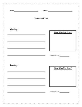 Elementary Homework Log