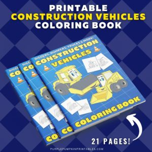 Printable Construction Vehicles Coloring Book