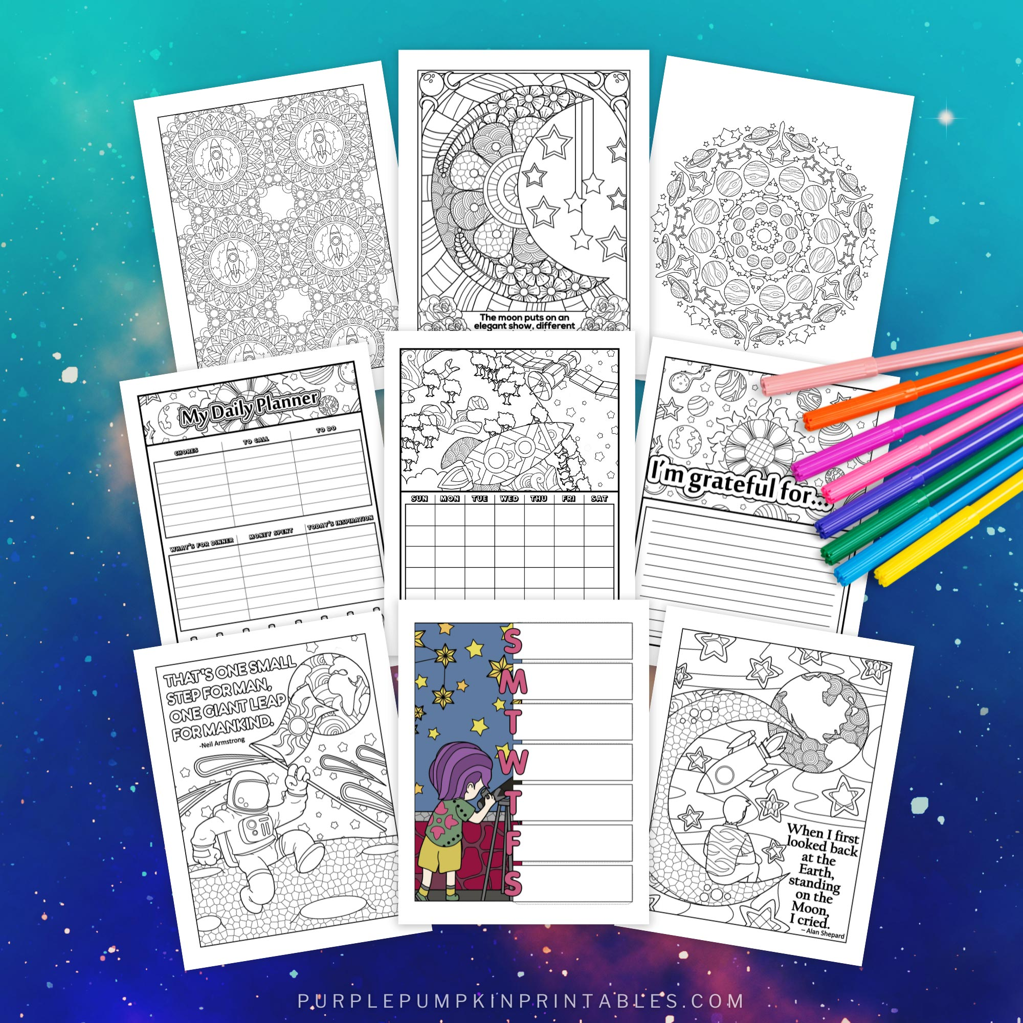 Printable Outer Space Journal to Color