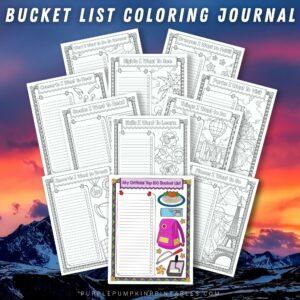 Printable Journal to Color - Bucket list