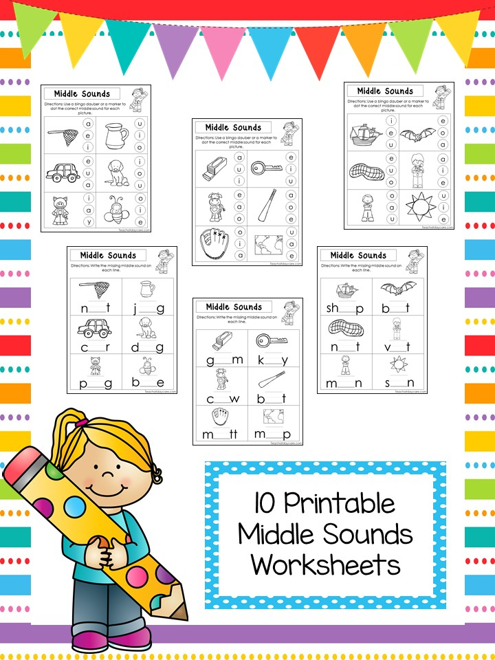 10 Middle Sounds Phonics Worksheets