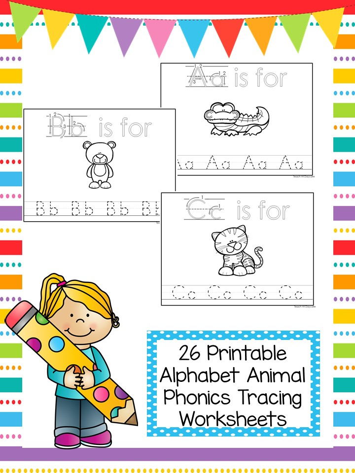 Alphabet Animal Phonics Color and Trace Worksheets