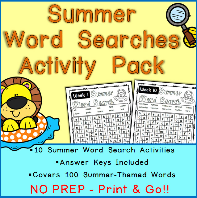 Printable Summer Word Search Activities