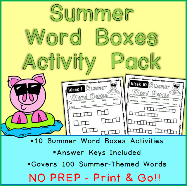 Printable Summer Word Boxes Activities