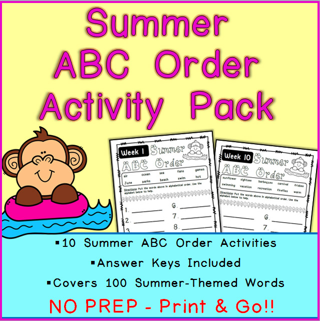 Printable Summer ABC Order Activities