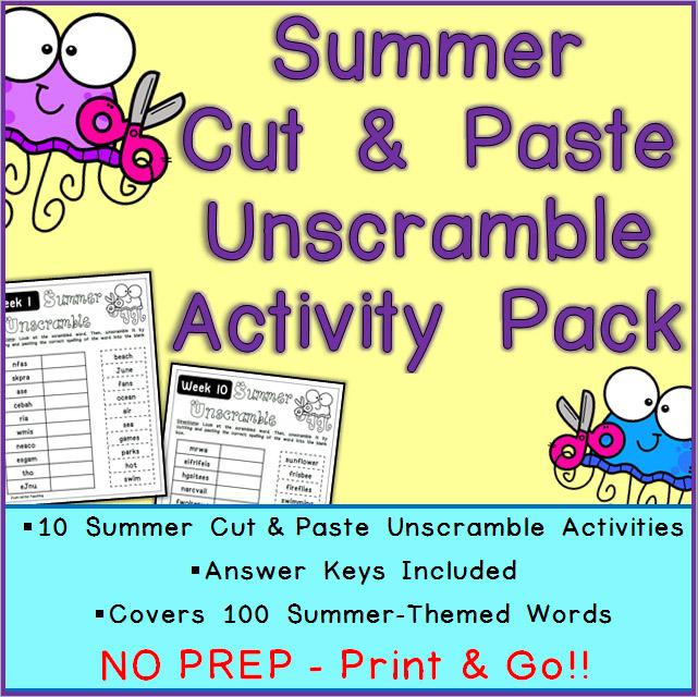 Summer Cut Paste Unscramble Printable Worksheets
