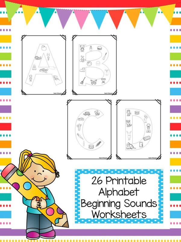 26 Alphabet Beginning Sounds Color Worksheets