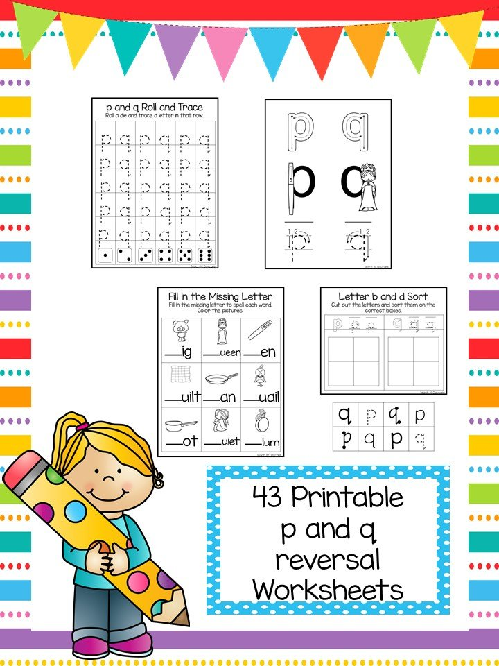 40 No Prep p and q Letter Reversal Worksheets