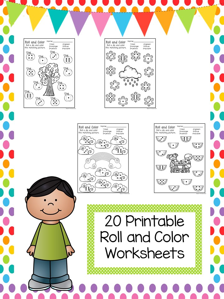 Numbers Printable Worksheets - Roll and Cover