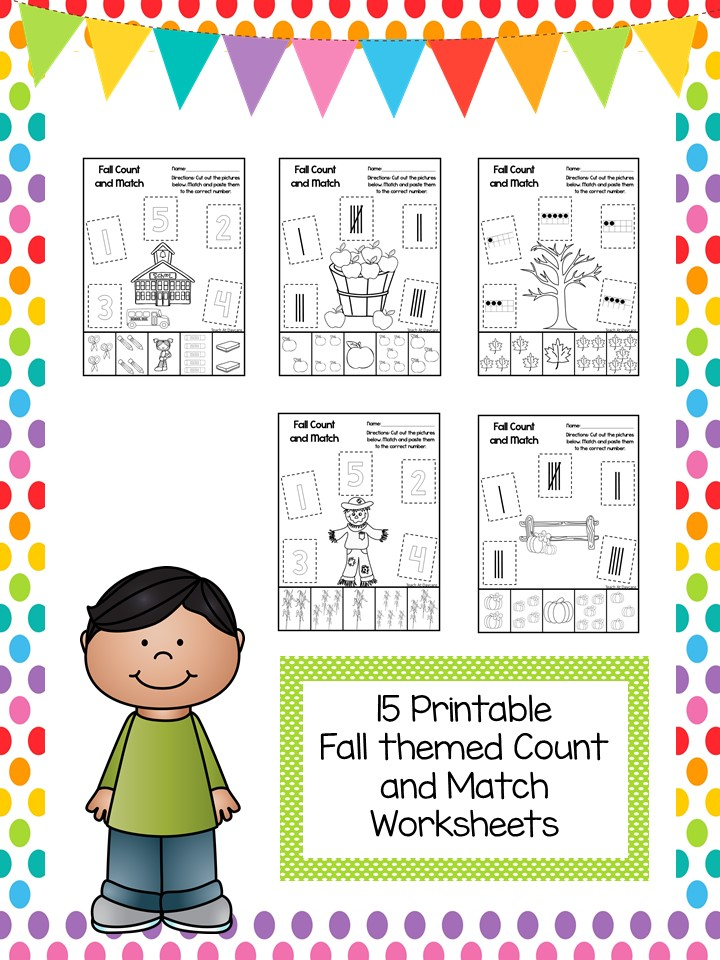 15 Printable Fall Match the Picture to the Number