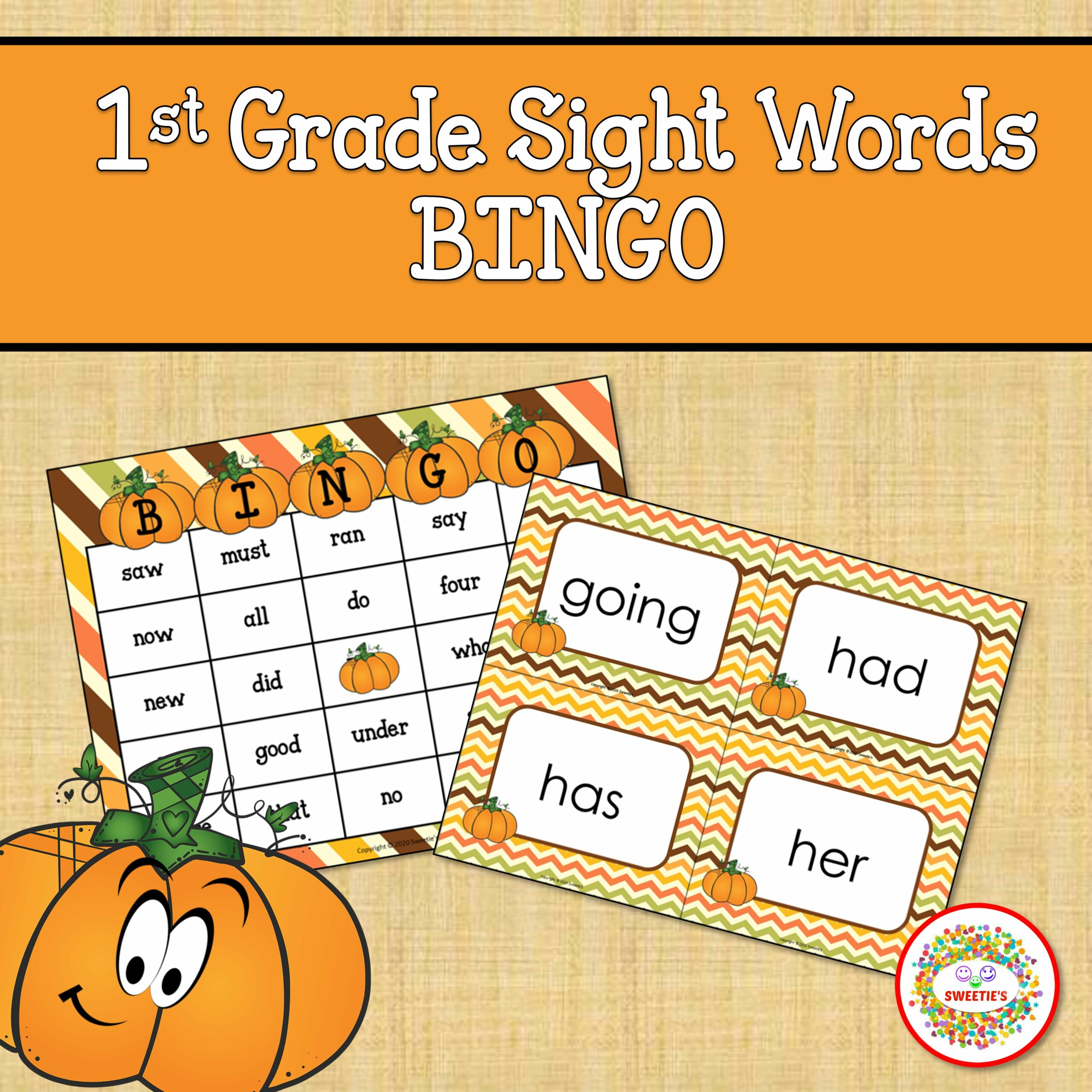 First Grade Sight Word Bingo Fall Autumn