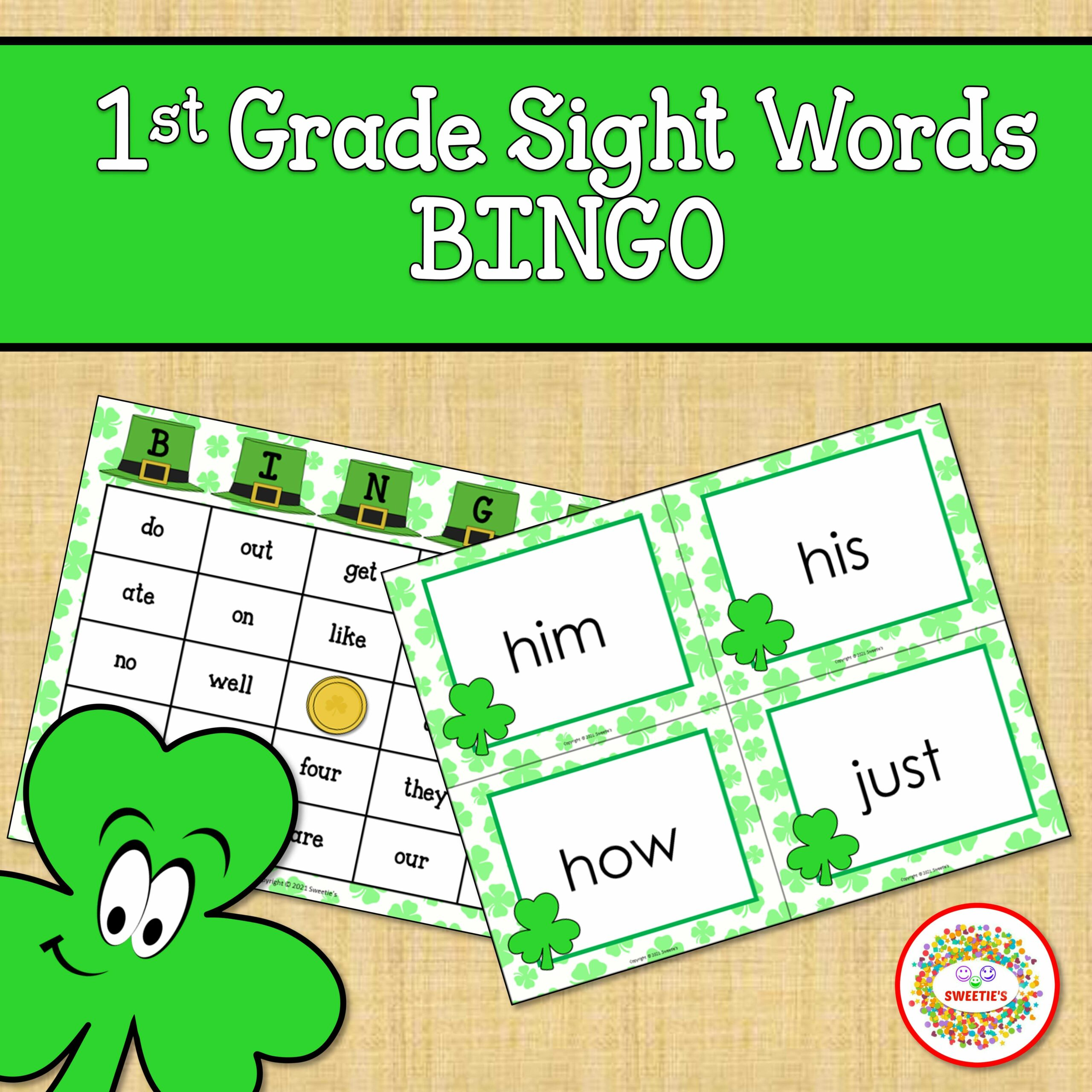 First Grade Sight Word Bingo Shamrocks