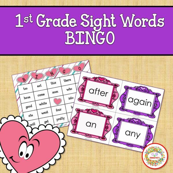 First Grade Sight Word Bingo Valentine