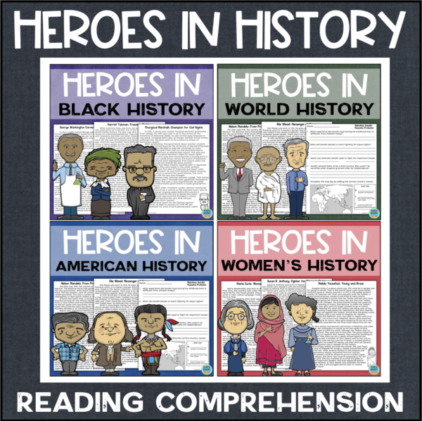 Heroes in History Reading Comprehension Printable Worksheets