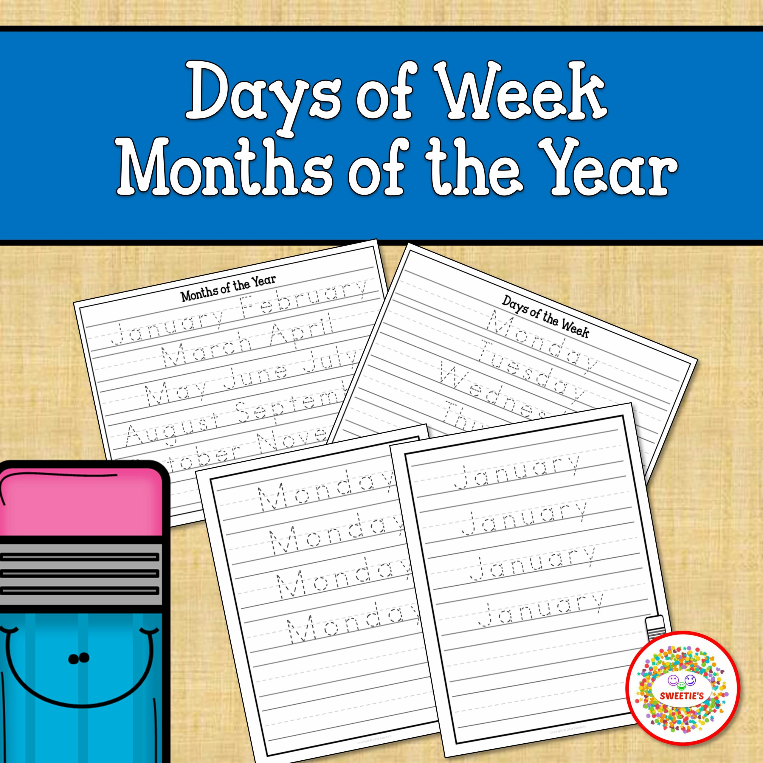 Months of the Year Days of the Weeks Worksheets