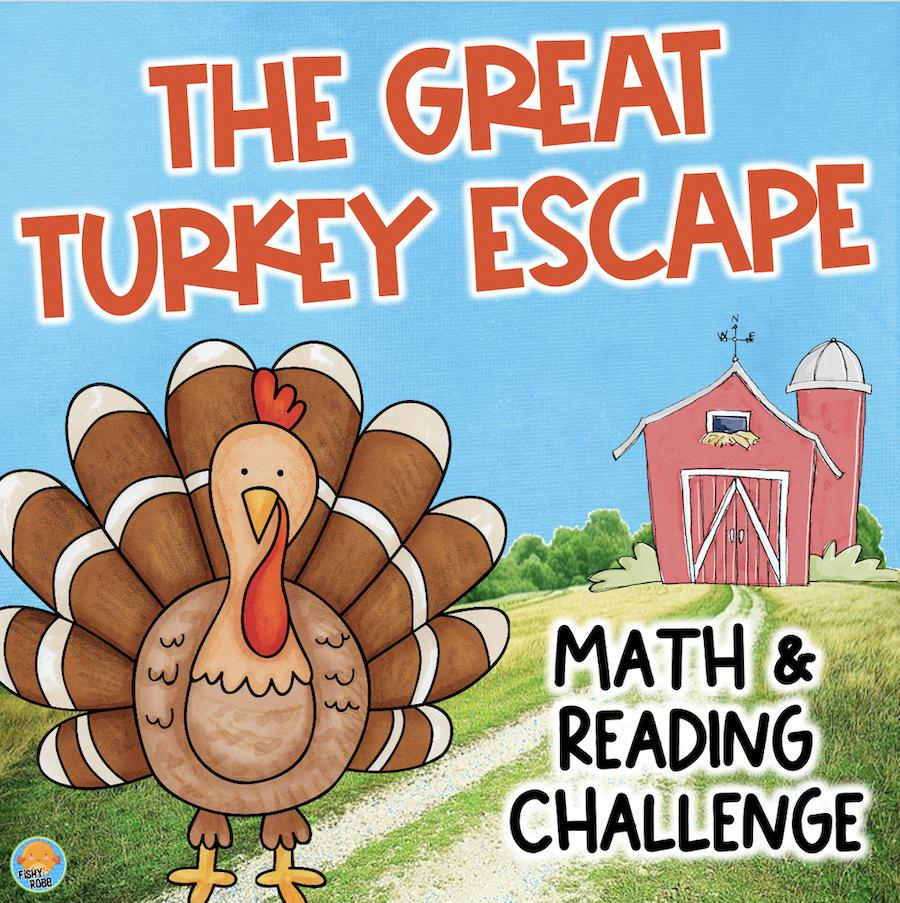 Thanksgiving Turkey ESCAPE ROOM Gr 4 Reading Math