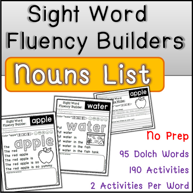Sight Word Fluency Builders Dolch Nouns List
