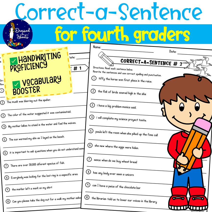 Fourth Grade Correct the Grammar Worksheets