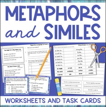 Printable Metaphors and Similes Worksheets Task Cards