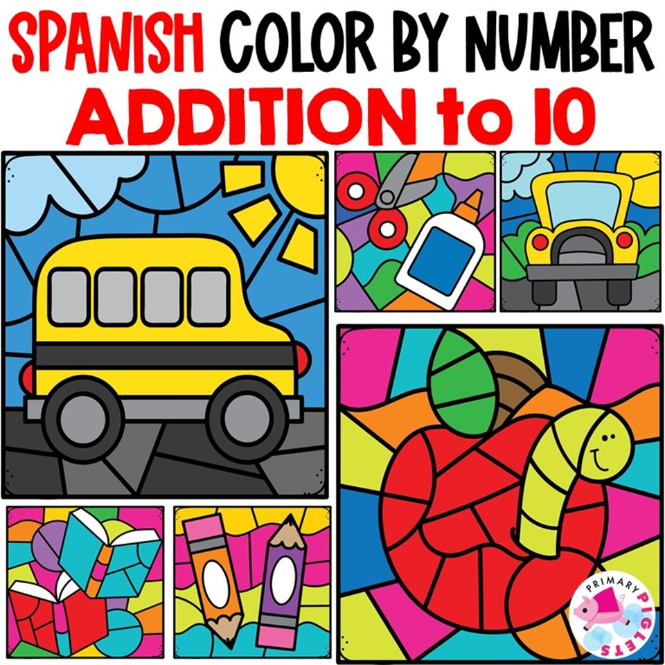 Spanish Color By Addition Worksheets Back to School Printable