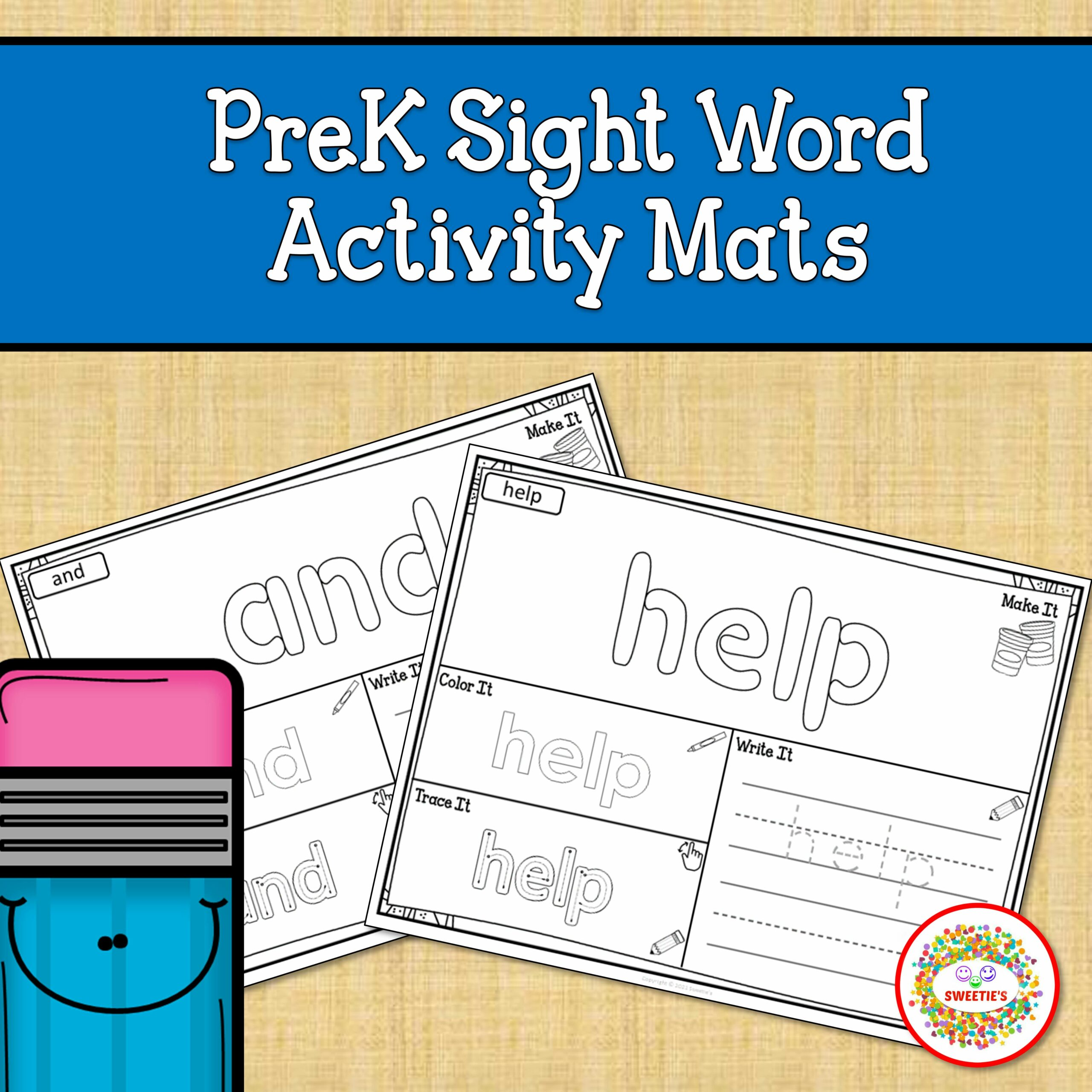 PreK Sight Word Activity Printable Pages