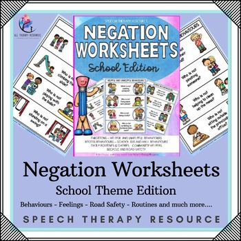 Negation Speech Therapy Worksheets Printable