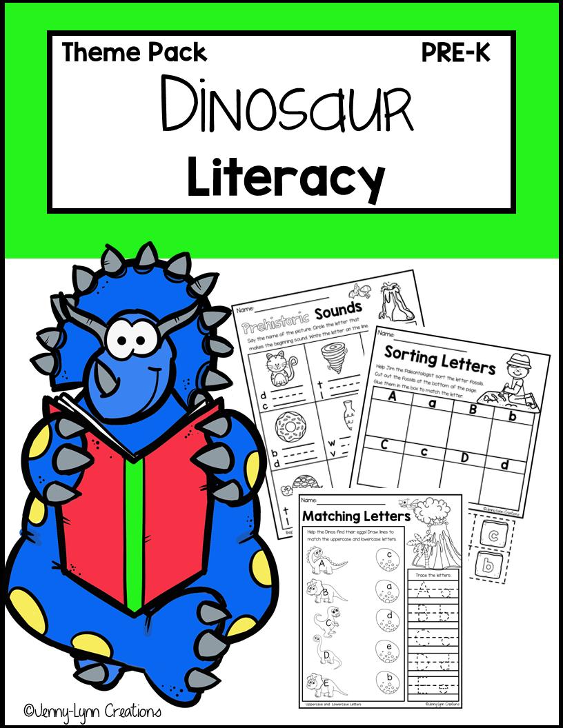 Dinosaur Literacy Printable Worksheets for Preschool